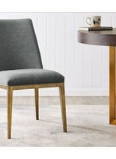 Penrith Brass and Grey Linen Fabric Dining Chair (Pair)