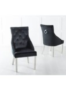 Black Velvet Chrome Legs Knockerback Dining Chair With Chrome Legs - Urban Deco