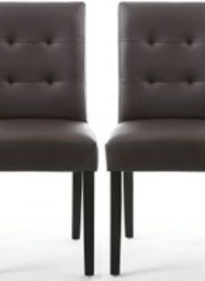 Shankar Sadler Brown Matt Bonded Leather Effect Stitched Back Accent Dining Chair with Black Legs (Pair)