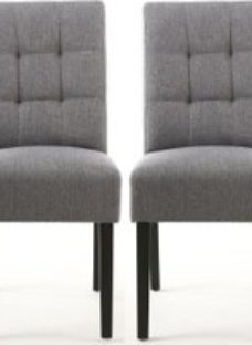 Shankar Moseley Steel Grey Linen Effect Stitched Back Fabric Accent Dining Chair with Black Legs (Pair)