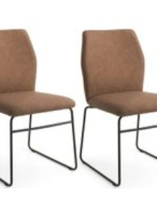 Connubia Hexa Vintage Leather Dining Chair with Metal Sled Base (Pair)
