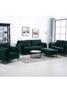 Zurich Green Velvet Fabric 3+2+1 Seater Sofa Suite with Footstool