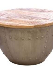 Ancient Mariner Old Empire Mango Wood Top Round Storage Coffee Table