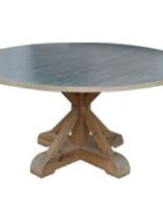 Asbury Antique Spot Zinc Top Round Dining Table