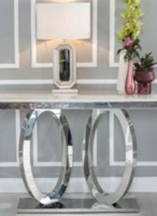 Orbit Console Table - Cream Marble and Stainless Steel Chrome - Urban Deco