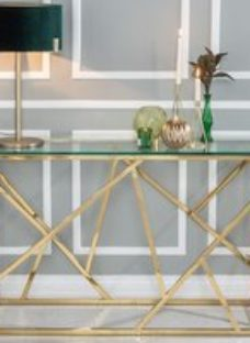 Maze Console Table - Glass and Stainless Steel Gold - Urban Deco