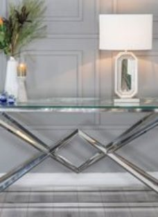 Pyramid Console Table - Glass and Stainless Steel Chrome - Urban Deco