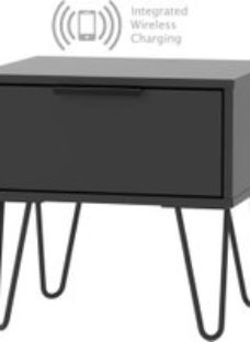 Hong Kong Black 1 Drawer Bedside Cabinet with Hairpin Legs and Integrated Wireless Charging