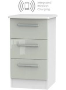 Knightsbridge 3 Drawer Bedside Cabinet with Integrated Wireless Charging - High Gloss Kaschmir and White