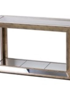 Hill Interiors Augustus Mirrored Antique Metallic Console Table with Shelf