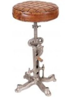 Leather and Iron Wind Up Stool