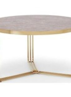 Floriston Dark Stone and Brass Brushed Round Coffee Table