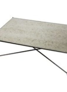 Stockwell Antiqued Glass Top Rectangular Coffee Table with Gun Metal Frame