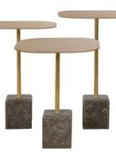 Bergerac Carrboro Oak and Marble Base Tables (Set of 3)