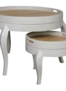 Bonaparte French Oak and Putty Painted Round Nest of Tables
