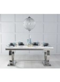 Urban Deco Glacier 200cm Rectangular Dining Table - White Marble and Stainless Steel Chrome
