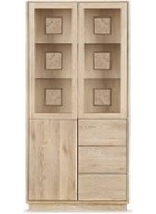 Portofino Solid Oak High Display Cabinet with Drawers Type 910D - 910D
