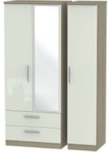 Knightsbridge High Gloss Kaschmir and Darkolino 3 Door 2 Left Drawer Mirror Triple Wardrobe