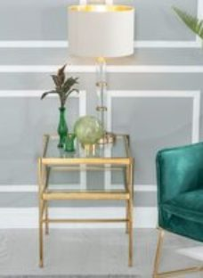 Baker Side Table - Glass and Gold - Urban Deco