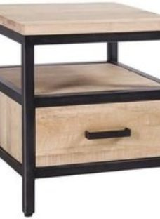 Forge Whitewashed Oak Industrial 1 Drawer Side Table