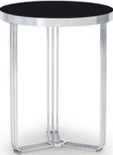 Floriston Black Glass and Chrome Round Side Table