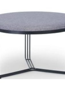 Floriston Pewter Woven Fabric and Black Matt Round Footstool