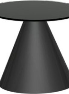 Maida Black Glass Small Round Side Table with Black Conical Base