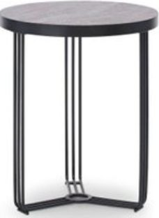 Floriston Dark Stone Laminate and Black Matt Round Side Table