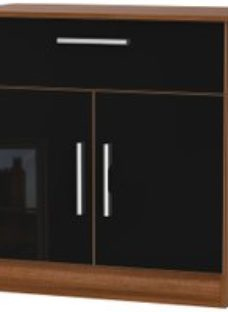 Welcome Living Room Furniture Gloss Black and Noche Walnut Sideboard - 2 Door 1 Drawer