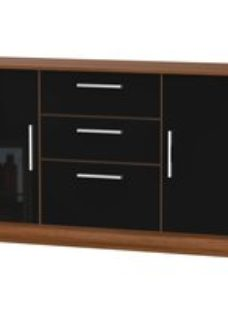 Welcome Living Room Furniture Gloss Black and Noche Walnut Sideboard - 2 Door 3 Drawer