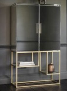 Gallery Pippard Champagne and Mirrored Cocktail Cabinet