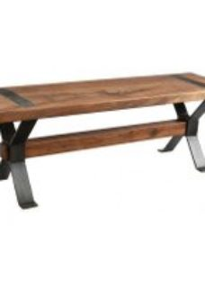 Handicrafts Industrial Dining Bench with Cross Legs - Iron and Wood