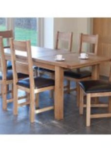 Hampshire Oak 150cm Extending Dining Set - 6 Padded Seat Chairs