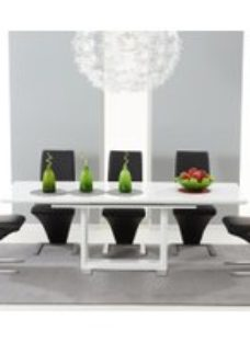 Mark Harris Beckley White High Gloss Dining Set - - 6 Black Hereford Chairs