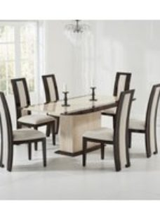 Mark Harris Alba Cream and Brown Marble Dining Set - 6 Rivilino Brown Chairs