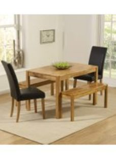 Mark Harris Promo Solid Oak Dining Set - 120cm with 2 Atlanta Brown Faux Leather Chairs and 2 Benches