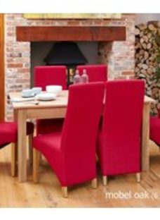 Baumhaus Mobel Oak Dining Table and 6 Berry Fabric Dining Chairs
