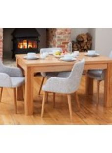 Baumhaus Mobel Oak Dining Table and 4 Light Grey Fabric Dining Chairs