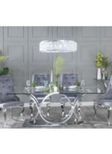 Wave Dining Table with Premiere Grey Fabric Knockerback Chairs - Glass and Stainless Steel Chrome - Urban Deco