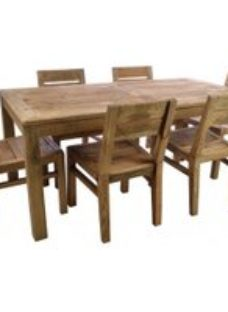 Ancient Mariner Fair Isle Reclaimed Pine Dining Table with 6 Chairs