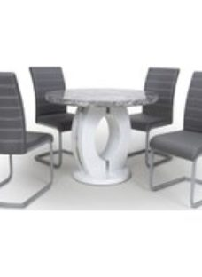Shankar Neptune High Gloss White with Grey Marble Effect Round Dining Table and 4 Callisto Grey Dining Chairs