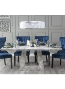 Urban Deco Milan 200cm Grey Marble Dining Table with Courtney Blue Chairs