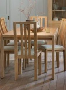 Ercol Bosco Oak Small Extending Dining Set with Cream Fabric Chairs