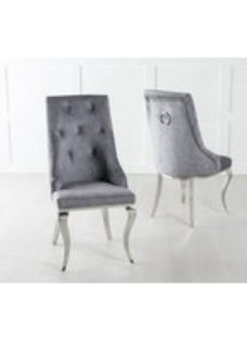 Premiere Knockerback Dining Chair - Grey Fabric with Stainless Steel Chrome Legs - Urban Deco