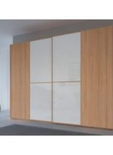 Rauch 20UP Partly Solid Sliding Wardrobe in Heart Beech Carcase with Color Mirror Front and Heart Beech Handle Strip