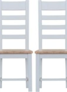 Clearance - Hampstead Grey Painted Ladder Back Wooden Seat Dining Chair (Pair) - New - E-182