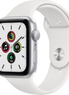 APPLE Watch SE - Silver Aluminium with White Sports Band