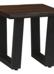 Urban Deco Live Edge Solid Acacia Wood Side Table - Dark