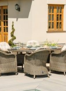 Maze Rattan Winchester Heritage 6 Seat Oval Fire pit Dining Set