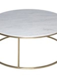 Gillmore Space Kensal White Marble and Brass Round Coffee Table